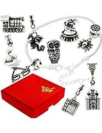 Magic de bruja Wizard plata encanto pulsera estilo Pandora caja de regalo para mujer niñas joyas