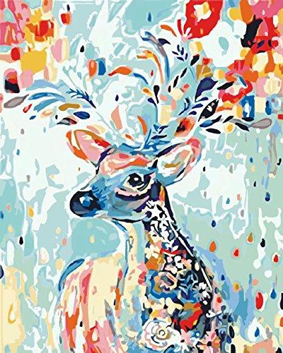 arbnummer Wand Kunst Artwork für Home Wohnzimmer Büro Bild Dekor Dekorationen Farbe Regenbogen Hirsch Giraffe Elch Rentier Geweihe Hirsch 16*20 Zoll Geburtstagsgeschenke Rahmenlos ()