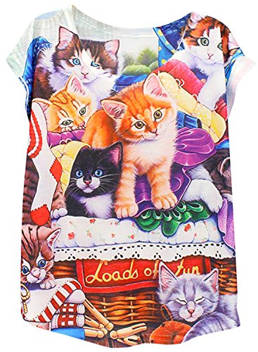 ACHICGIRL Women's Fashion Cat Print Short Sleeve Pullover Tee Multicolored