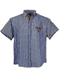 1129Blue White- Brown pour homme Chemise manches courtes grande taille Lavecchia Taille 3 - 7XL