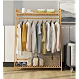 ADA Handicraft Premium Bamboo Clothing Garment Rack, Coat Clothes Hanging Heavy Duty Rack, with Top Shelf and Shoe Clothing S