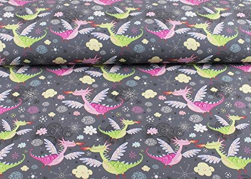 Niedlicher Softshell Stoff gemustert mit grünen und rosa Drachen auf grau als Meterware   1A ÖKO-TEX Qualität Standard   Maße: 25 cm x ca. 145 cm  