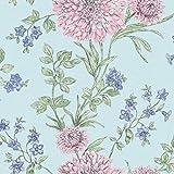 Rasch Bordeaux Blumen Muster Blumenmotiv Traditionell Metallische Tapeten - Türkis Rosa 208511