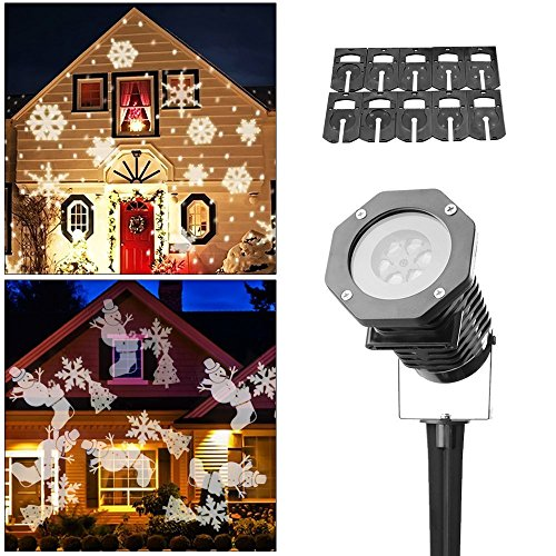 Foto de Proyector LED de luz, ALED LIGHT proyector de luz 2017 de Navidad al aire libre Proyector de luz de paisaje con 10 deslumbrantes diapositivas de diseño Iluminación dinámica escamas nieve impermeable