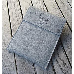 zigbaxx Tablet Hülle WOOD STAR Case Sleeve Filz u.a. für iPad 9.7, iPad Pro 9,7/10,5/11 Zoll (2018), iPad mini 2/3/4, iPad Air, 100% Wollfilz pink schwarz beige grau braun - Geschenk Weihnachten