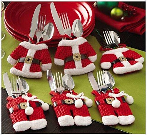 Weihnachtsmannkostüm, Besteckhalter Motiv Gedeck Tischdekoration Geschenk 6 Pcs Dress