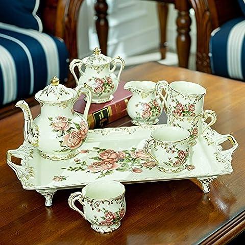 qwer Continental Palace 8 oro porcellana avorio e tè set creative decorazioni Home , Showroom 8 foglia di tè e