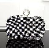 ruiio Fashion Frauen Damen Diamant Abend Handtasche Hochzeit Party Clutch Geldbörse mit Kette, schwarz