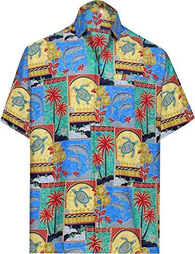 LA LEELA Casual Hawaiana Camisa para Hombre Señores Manga Corta Bolsillo Delantero Surf Palmeras Caballeros Playa Aloha S-(in cms):96-101 Verde_W274
