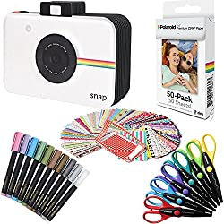 Polaroid : Papier Photo Zink Premium 2 x 3 po (50 Feuilles) + Album Snap + 100 Cadres Photo Autocollants + 10 surligneurs métalliques + 6 Ciseaux à Bordure colorés (Compatible Snap, Touch, Zip)