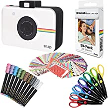 Polaroid papel fotográfico ZINK Premium 2x3 pulgadas (50 hojas) + Cuaderno de recortes Snap + 100 Marcos de fotos de pegatina + 10 rotuladores metálicos + 6 Tijeras multicorte (compatible con Polaroid Snap, Touch, Zip)