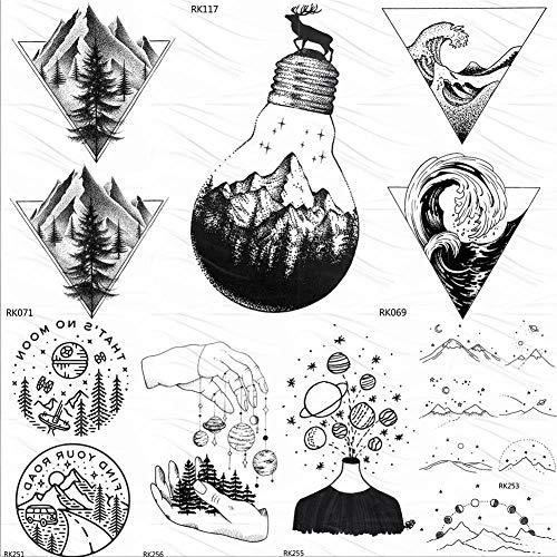 Temporäre Tattoo-Aufkleber Birne Glas Berg Kiefer Temporäre Tattoos Aufkleber Dreieck Welle Benutzerdefinierte Tattoo Art Arm Schwarz Kleine Gefälschte Tatoos