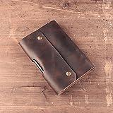Debon echtes Leder Tagebuch Schreiben Notebook Vintage Echtleder Travel Milchprodukte Notizblock mit Stifthalter (Stift ist nicht im Lieferumfang enthalten) A6Größe nachfüllbar Loose Leaf Tagebuch Borten braun