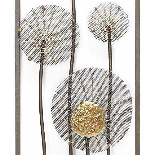 FRANK FLECHTWAREN Metall-Wanddeko Flowers in schimmernder Rostoptik