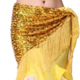 ZLTdream Women's Belly Dance Hip Scarf with Tassel Yellow