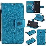 Nokia Lumia 630 / 635 Hülle, SpiritSun Ledertasche Schutzhülle für Nokia Lumia 630 / 635 Folio PU Leder Tasche Case Cover Bookstyle mit Standfunktion und Kredit Kartenfächer - Tribal Lotus Blume Muster - Blau