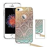 ESR Coque pour iPhone 5/5/SE, Coque Silicone Transparente Motif Mandala Tribal Fleur...
