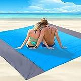 JIMACRO Picknickdecke wasserdichte Sandfreie Strandmatte Groß 200 * 210cm Leichte Picknickdecken mit 4 Festen Nägeln für Reis