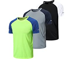 frueo 3 Pack Gym Shirts Men Breathable Sport Tops Dry-Fit Workout Shirts Jogging Fitness Active Shirts Short Sleeve Bodybuild