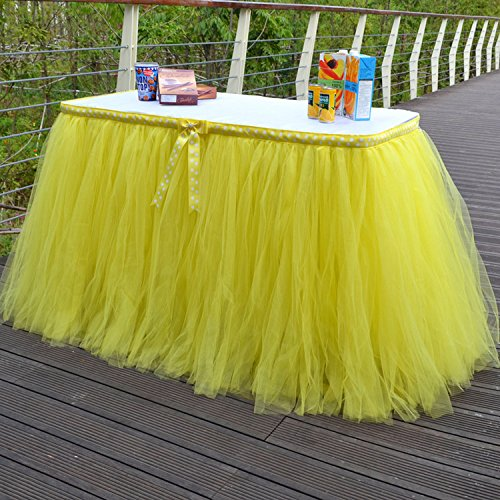 Yunhigh tutu Tulle Tisch Röcke für Rechteck & runde Tische Baby Dusche Dekoration Tischdecke Tuch für Geburtstag Hochzeit Weihnachten Parteien Dekor - gelb (Runder Rock Tisch)