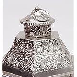 Burkina Home Decor set de 2 fanales decorativos 9016516, metal, plata, 35x30x55cm y 30x25x50cm