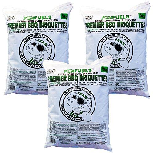 Premier Briquettes pour barbecue, extra long 4 + heures de combustion : valeur Lot de plusieurs Sacs 5 kg
