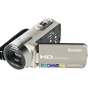"Besteker Camera camcorders, Portable 1080P 24MP 16X Digital Zoom Mini Video Camcorder with 2.7"" LCD and 270 Degree Rotation"