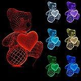3D Lampe Optische LED Täuschung Nachtlicht,7 Farbwech mit Acryl Flat & ABS Base & USB-Ladegerät ändern Berühren Sie Botton Schreibtisch lampe Tischleuchte,Kinder Weihnachtsgeschenke (Bär)