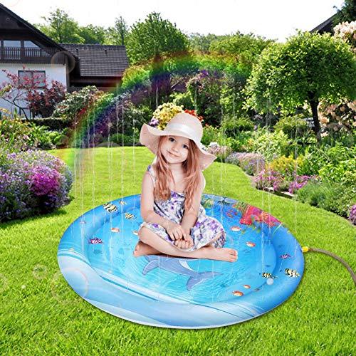 Cozyhoma Spritzen-Spielmatte, 100cm/39 Wasser im Freien spielt Sprinkler-aufblasbare Sprinkler-Auflage Sommerspaß-Hinterhof-Säuglings-aufblasbare Spielwaren für Kleinkinder und Kinder (Märchen Beste Für Bücher Kleinkinder)