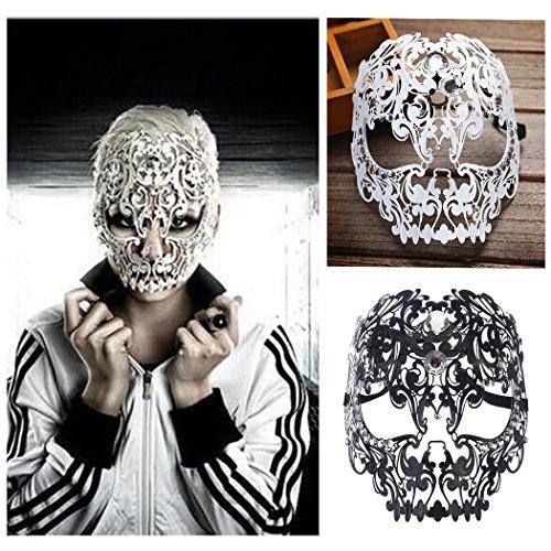 Schädel Kostüm Schwarz Maske - Funpa Venezianische Maske, Metall Damen Masquerade Maske Schädel Gesichtsmaske für Maskenball Kostüm Karneval Halloween Weihnachten Party