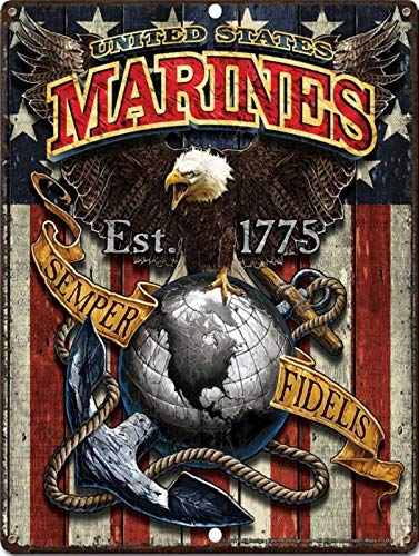 Tiukiu United States Marines Semper Fidelis Military Vintage Aluminum Sign Metal Sign Wall Decor -