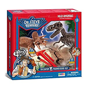 Dr Steve Hunters 91071BF T. Rex vs. Triceratops Expedition Dino Dig Kit-25 Piezas-Uncle Milton Scientific Juguete Educativo, Multicolor