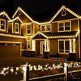 KooPower 12M 100er LEDs Solar Lichterkette mit Timer, Akku Enthalten, IP55 Wasserfest, Warmweiß Licht für Party, Garten, Weihnachten, Outdoor, Fest Deko Usw