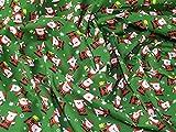 Polycotton-Stoff, Weihnachtsmann-Muster, Grün,Meterware