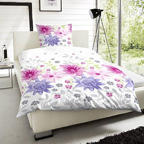 Hahn Perkal Bettwäsche Blumenwiese pink 1 Bettbezug 155 x 220 cm + 1 Kissenbezug 80 x 80 cm -