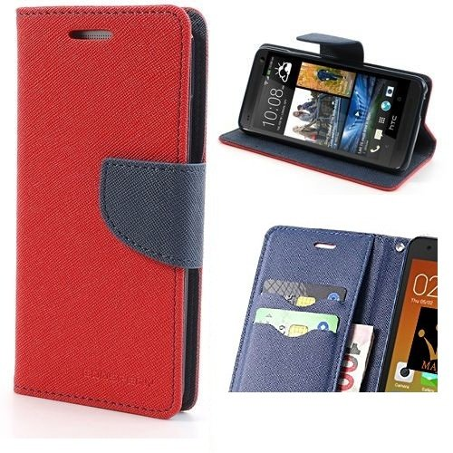 V CAN Mercury Goospery Fancy Diary Card Wallet Flip Case Back Cover for HTC Desire 620/ 620G (Red)  available at amazon for Rs.199