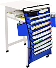 FWQPRA® Mount Hanging Caddy Organizer Students Classroom Book File Pens Holder Water Bottle Cellphone Pouch Stationery Storage Bag Office Furniture Bookcase Shelf Rack(Colour as per Availability)