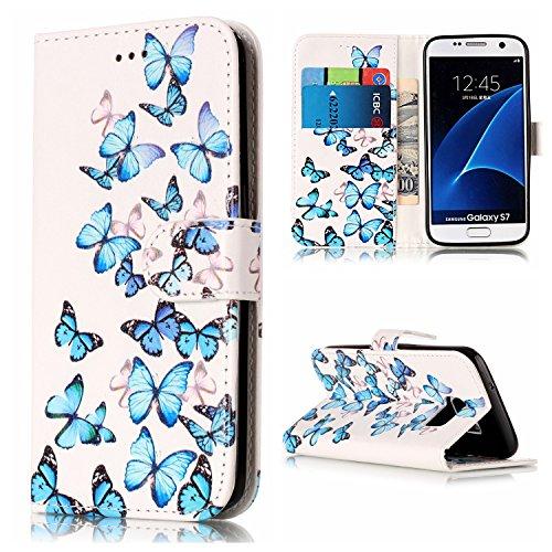 Samsung Galaxy S7 Hülle Case, Cozy Hut Bookstyle Handy hülle Premium PU-Leder Tasche Flip Case Brieftasche Etui Schutz Hülle für Samsung Galaxy S7 Ledertasche Tasche Handyhülle Schutzhülle Cover Etui Handycase (Skellington Hut Jack)