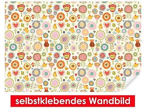 Image murale auto-adhésif bande dessinée Flowers–Facile à coller–Wall Poster Print, Wall Paper,, film vinyle avec point décoratif pour murs, portes, meubles et toutes les surfaces lisses de Trend murs, 90 x 60 cm