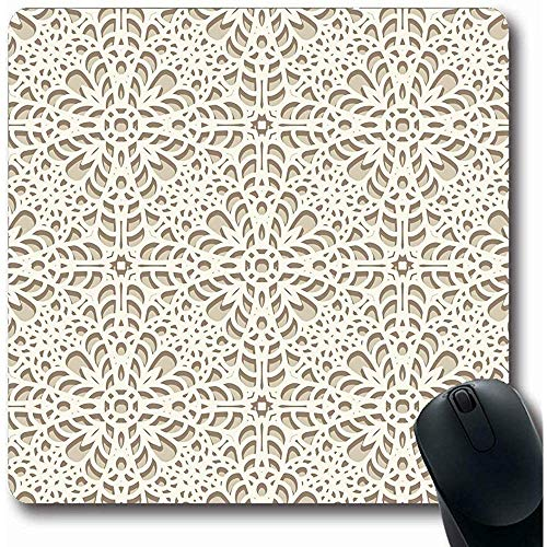 Mouse Mat,Pattern Beige Delicate Lace Knitted Art Crochet Lacy Lacework Neutral Pale Handicraft Swirly Non-Slip Rectangle Gaming Mouse Pad,22X18Cm -
