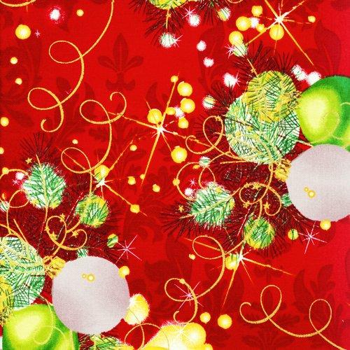 Fat Quarter Seasons Greetings Weihnachtskugeln (rot) Baumwolle Quilten Stoff (Quilten Quilt Stoff)