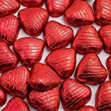 1kg Red Foil Wrapped Milk Chocolate Hearts - Approx 200 - Great for Valentines Day