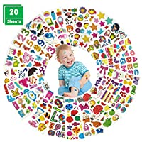 3D Stickers for Kids, 20 Sheets Puffy Stickers Pack for Children, Fun Stickers for Toddlers Girls Boys Scrapbooking DIY Crafts,Card Making,Gift Party Bags: Animals,Letters,Numbers,Stars,Sealife,etc