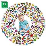3D Aufkleber für Kinder,20 Blätter Geschwollene Aufkleber,Lustige Sticker Set für Kleinkinder Mädchen Scrapbooking DIY-Basteln,Belohnung Aufkleber,Kartenbasteln:Tiere,Buchstaben,Zahlen,Sterne und mehr