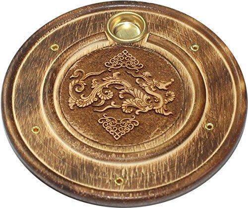 Assiette porte encens et support de cone en bois grave 10cm Dragon Chinois