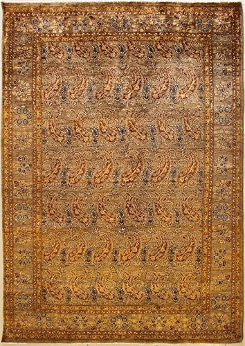 RugsTC 208 x 312 Chobi Ziegler Area Rug Made Using Vegetable Dyes with Wool Pile Hand-Knotted in Brown,Reddish Brown,Blue Colors | a 213 x 305 Rectangular Double Knot Rug -