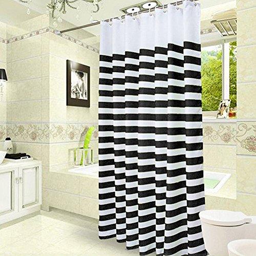 LikeYou Hotel Dekor Farbe Ombre Streifen Duschvorhang Polyester Wasserdicht und Mehltau beständig mit Haken, schwarz / weiß, extra lang 72 von 78 (Schwarzer Duschvorhang 78 In)