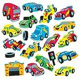 Baker Ross Aufkleber aus Moosgummi mit verschiedenen Rennwagenmotiven für Kinder zum Dekorieren und Verzieren von Karten, Collagen und Anderen Bastelarbeiten (120 Stück)