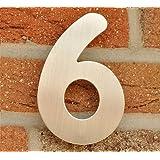 Hausnummer Nr. 6 - Edelstahl gebürstet - 15 cm - witterungsbeständig - einfache Montage