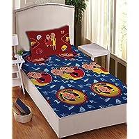 Athom Trendz Motu Patlu 104 TC Cotton Single Bedsheet with 1 Pillow Cover - Modern, Multicolour